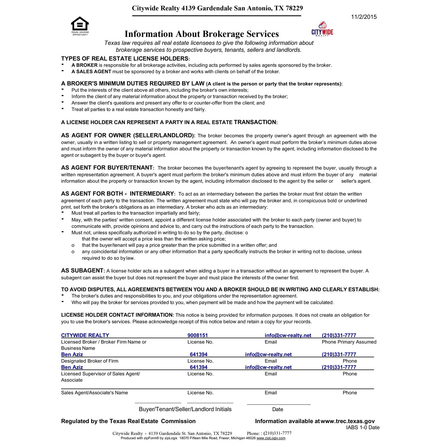 Information About Brokerage Services For Citywide